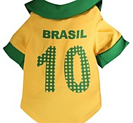 Cat Dog Shirt / T-Shirt Jersey Dog Clothes Holiday Sports Letter & Number Yellow Costume For Pets