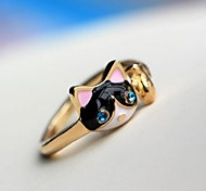 Diamond Personality Kittens Cat  Fashion Rings