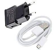 cheap -Euro Plug Micro USB Wall Charger with Micro USB Cable for Samsung Galaxy S3/S4 / Huawei / Xiaomi / and Other Cellphones
