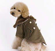 Dog Coat Brown Dog Clothes Winter Solid Fashion / Keep Warm