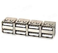 Dual USB Female Adapters - Silver (4 PCS)