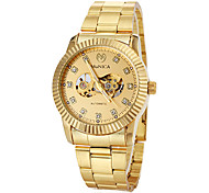 cheap -Men's Auto-Mechanical Luxury Gold Skeleton Steel Band Wrist Watch Cool Watch Unique Watch Fashion Watch