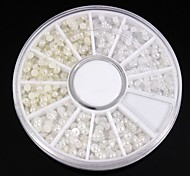 1200PCS Mix Sizes White&Ivory Pearl Wheel Nail Art Decoration