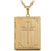 baratos -Mulheres Colares com Pendentes / Colar dos Lockets  -  Banhado a Ouro 18K, Chapeado Dourado Cruz Fashion Colar Para Casamento