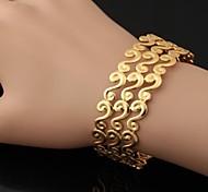 Недорогие -u7® нового урожая 18k коренастый золота заполнены платина покрытием Браслет-манжета браслет для мужчин и женщин