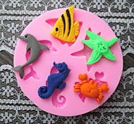 Fish Dolphin Crab Baking Fondant Cake Choclate Candy Mold,L6cm*W6cm*H0.9cm