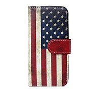 American Flag Pattern PU Leather Full Body Cover with Card Slot for iPhone 6