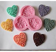 Недорогие -три сердца цветок в форме выпечки помадка торт шоколадные конфеты плесень, l11cm * w10cm * h1cm