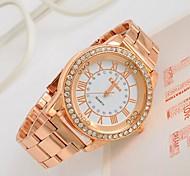 женщин часы большой циферблат горный хрусталь розового золота часы