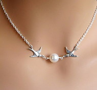 cheap -Women's Pendant Necklace  -  Pearl, Imitation Pearl Bird, Animal Unique Design, European, Bridal Silver Necklace For Wedding, Party, Gift