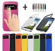 cheap -Case For Samsung Galaxy Samsung Galaxy Case with Windows Auto Sleep / Wake Flip Full Body Cases Solid Color PU Leather for S4