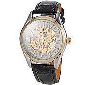 Men's Auto-Mechanical Skeleton Dial Black Leather Band Wrist Watch (Assorted Colors) Cool Watch Unique Watch