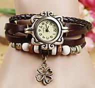 preiswerte -Damen Quartz Armband-Uhr Armbanduhren für den Alltag PU Band Böhmische Modisch Schwarz Weiß Blau Rot Orange Braun Grün