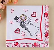 Недорогие -мода квадрат мультфильм невесты& бумажные салфетки для жениха (набор из 20)
