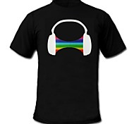 Mens Light Up LED T-shirt headphone pattern Sound and Music Activated Equalizer for Party Bar Raver