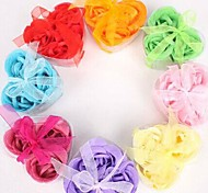 cheap -Holiday Gifts 3 Romantic Heart-shaped Rose Soap Flowers(Random Color)