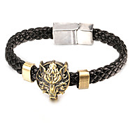 Punk Style Wolf Head Alloy Leather Bracelet(1 Pc)