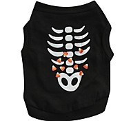 Cat / Dog Shirt / T-Shirt Black Dog Clothes Spring/Fall Skulls Cosplay