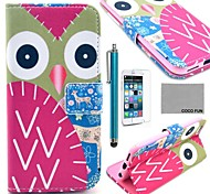 COCO FUN® Colorful Owl Pattern PU Leather Full Body Case for iPhone 6 4.7 with Screen Protecter