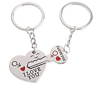 cheap -Hearts Shape Lovers Stainless Keychains Novelty Toys(2pcs)