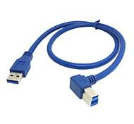 usb 3.0 un tipo male a b cable en ángulo macho de 90 grados a la derecha para el disco duro de 0,5 m 1.5ft