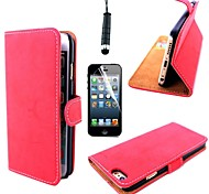 Retro Matte Leather PU Leather Cover with Card Slot with Touch Pen and Protective Film for iPhone 6(Assorted Colors)