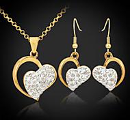 u7® 18k позолоченный австрийский SWA горный хрусталь Shamballa сердца ювелирные изделия устанавливает ювелирные изделия подарок для женщин