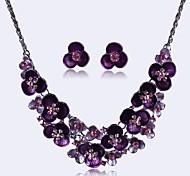 Недорогие -Европа моды горный хрусталь цветок комплект ювелирных изделий женщин (в том числе ожерелья серьги)