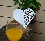 12pcs Laser Cut Heart Cup Cards Name Place Escort Card for Wine Glass Wedding Baby Shower Christmas Party Decoration