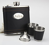 cheap -Personalized Stainless Steel  Black  Flask 6-ozGift Set