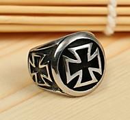 Недорогие -мужская Европа крест личность титана стальное кольцо