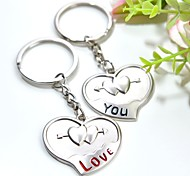 cheap -Personalized Engraving LOVE YOU Metal Couple Keychain