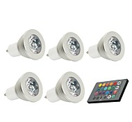 cheap -5PCS 3W lm GU10 LED Spotlight 1 leds Decorative Remote-Controlled RGB AC 85-265V