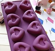 Недорогие -8 дыра сердце формы торт лед желе формы шоколада, силиконовая 30 × 17,5 × 3 см (11,8 × 6,9 × 1,2 дюйма)