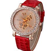 Недорогие -Женские Модные часы Кварцевый PU Группа Блестящие / Бабочка Белый / Красный бренд-