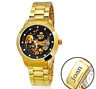 Personalized Gift Men's Casual Watch Black Dial Stainless Steel Strap Engraved Watch