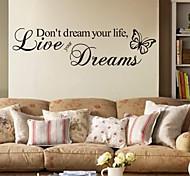 Недорогие -Слова и фразы Наклейки Простые наклейки Декоративные наклейки на стены,PVC материал Съемная Украшение дома Наклейка на стену