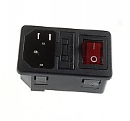 DIY 3-Pin 10A / 250V AC Power Socket Outlet Fuse Holder With Indicator