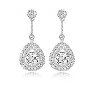 la moda de lágrima clásica pendientes largos colgantes llenos de aretes de diamantes chispeantes pequeña cz