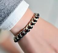 модные женщины лента металлическая цепь плетеные браслет