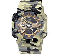 SANDA® Men's Military Camouflage Design Dual Time Zones Rubber Band Wrist Watch (Assorted Colors) Cool Watch Unique Watch Fashion Watch