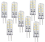 1W G4 Bombillas LED de Mazorca T 24 leds SMD 3014 Regulable Blanco Cálido 100-120lm 3000-3200K DC 12V