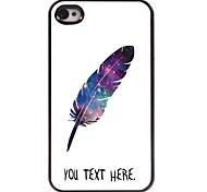 Personalized Case Feather Design Metal Case for iPhone 4/4S
