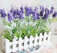 темно-фиолетовая лаванда и 30 см длиной белый забор искусственный цветок домашнее украшение