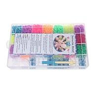 красочные DIY резинки браслеты с 6300pcs групп и 100 S-клипов в пластиковой сумке для переноски