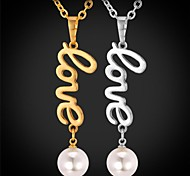 U7® Long LOVE Pendant Necklace for Women 18K Real Gold Plated Pearl Necklace Fashion Jewelry for Women High Quality