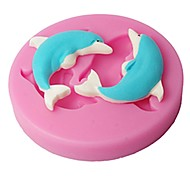 FOUR-C Silicone Cupcake Mold Dolphins Cake Decor Mould Color Pink