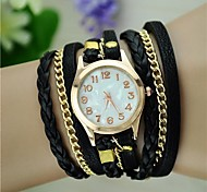 preiswerte -Damen Armband-Uhr Modeuhr Quartz geflochtenen Seil PU Band Retro Böhmische Schwarz Weiß Blau Rot Braun Grün Rosa Lila