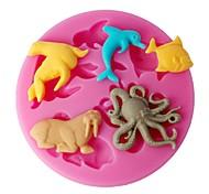 Недорогие -FOUR-C дизайн силиконовые формы морских животных торт плесень цвет розовый