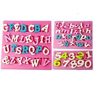 baratos -Four-C moldes número moldes do queque silicone fondant, ferramentas fondant de decoração fornece cor rosa 3pcs / set
